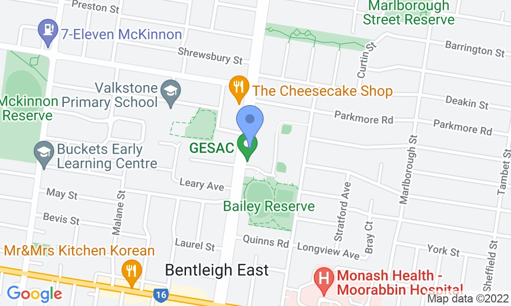 Glen Eira Sports and Aquatic Centre (GESAC) map