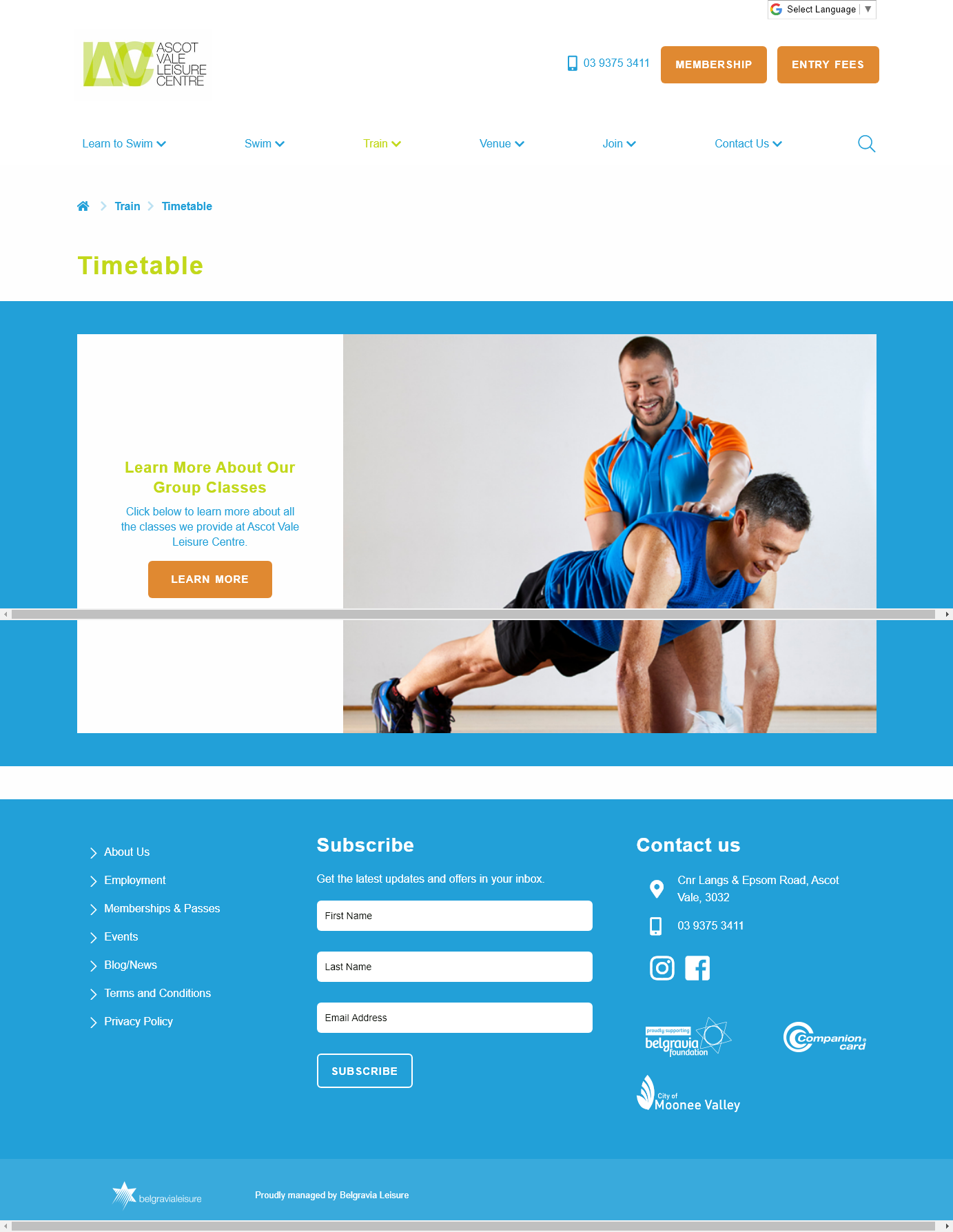 Ascot Vale Leisure Centre Ascot Vale Group Fitness Timetable