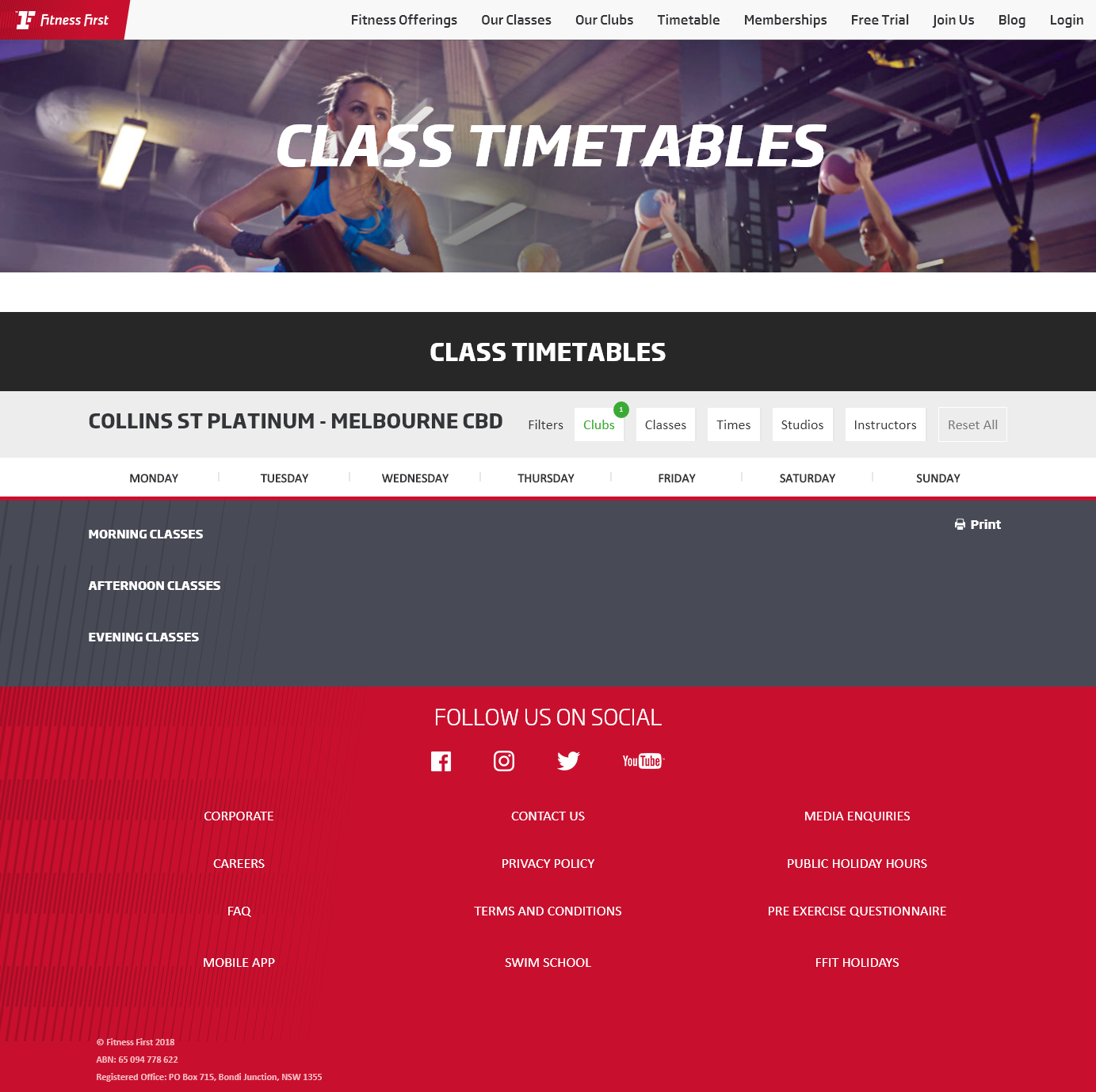 Fitness First Platinum Collins St High Performance Club Melbourne Group Fitness Timetable