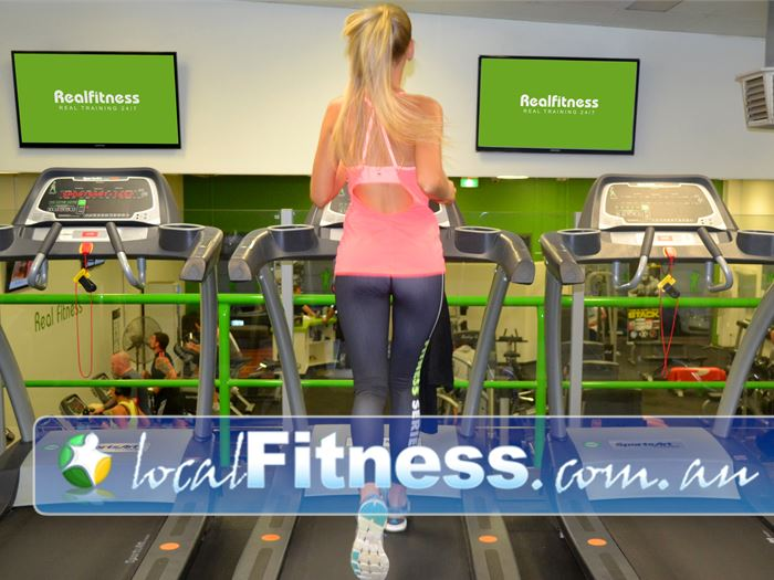 Real Fitness Near Melville Tune into your favorite shows while you train.