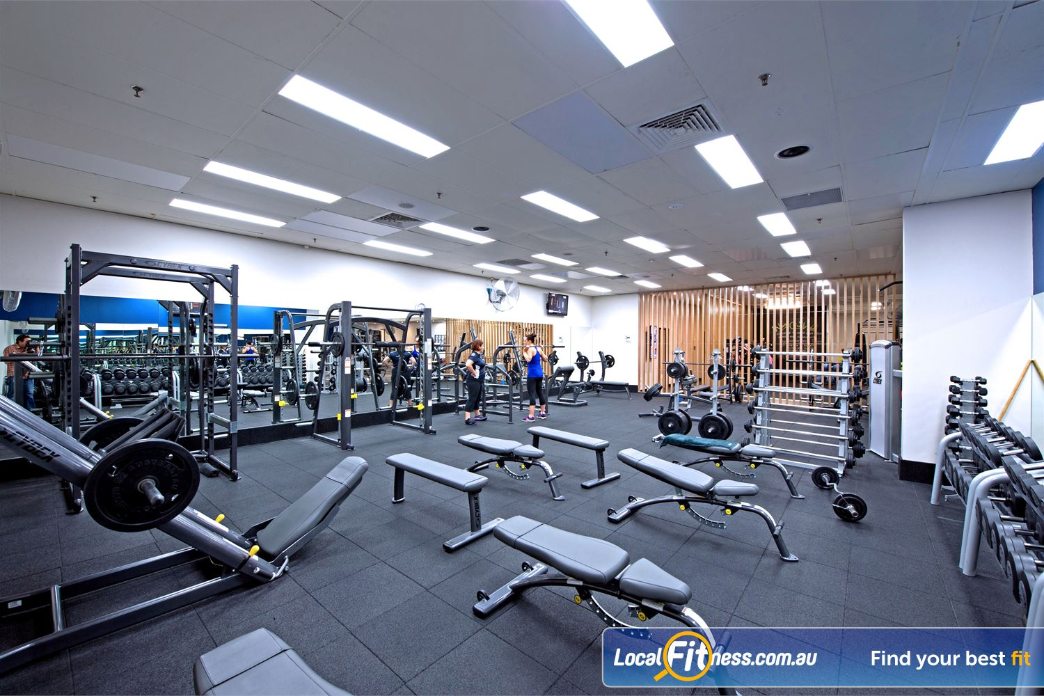 Goodlife Health Clubs Cottesloe The fully equipped Cottesloe free-weights gym area.
