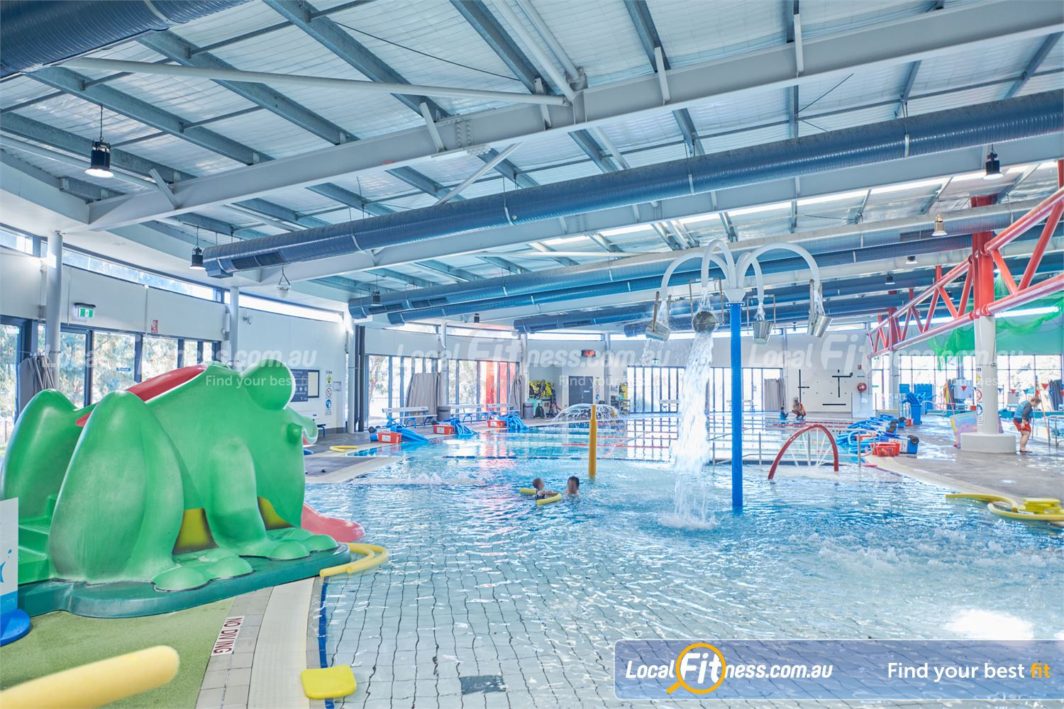 Maribyrnong Aquatic Centre Near Essendon West The Leisure pool includes water spray, tipping buckets and frog slide.