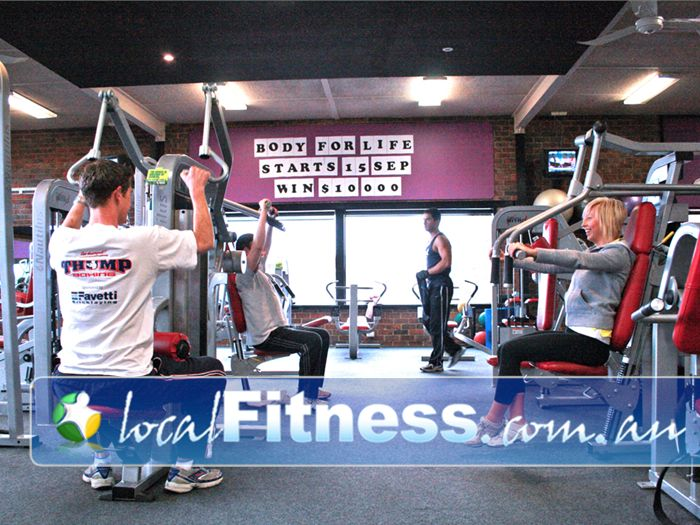 Genesis Fitness Clubs Doncaster Fully equipped weights training area.