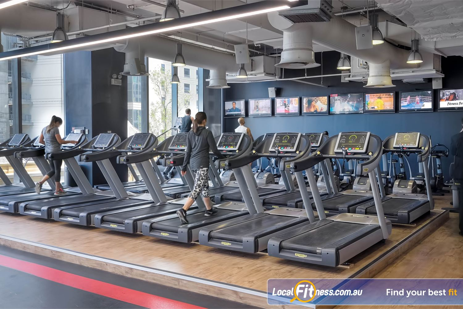 Fitness First Platinum Market St. Near World Square Rows of state of the art cardio machines in our Sydney gym.