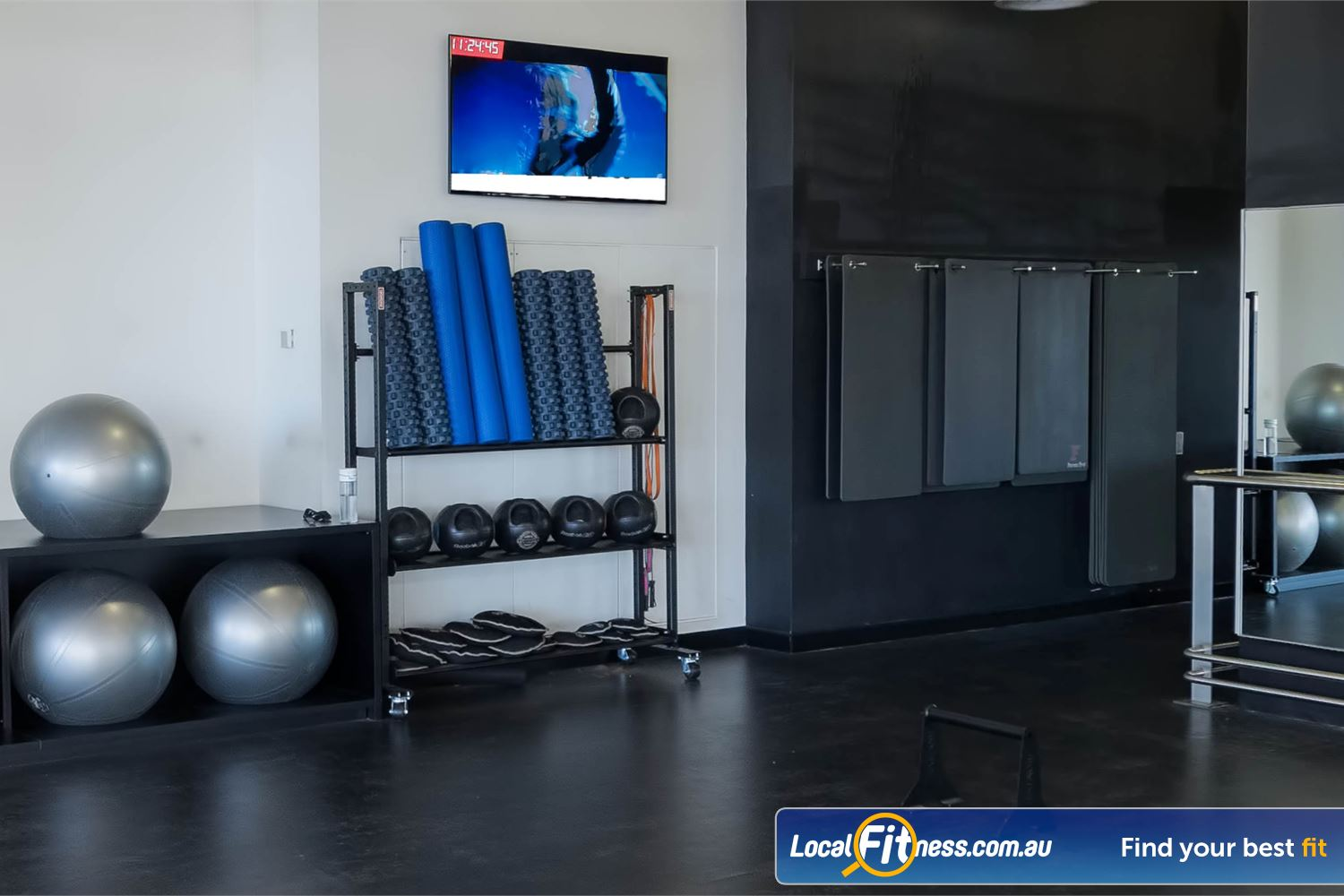 Fitness First Platinum Market St. Near Alexandria Mc Fully equipped ab and stretching zone with fitballs, foam rollers, stretching mats and more.