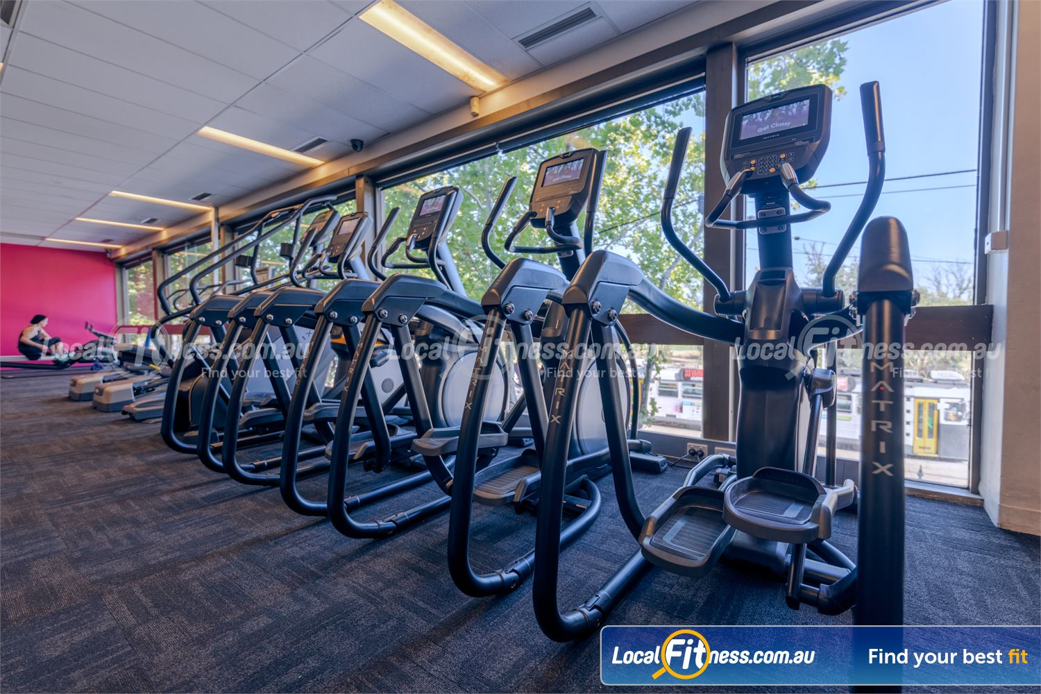 Fernwood Fitness St Kilda Rows of cardio machines so you don't have to wait with 24/7 gym access.