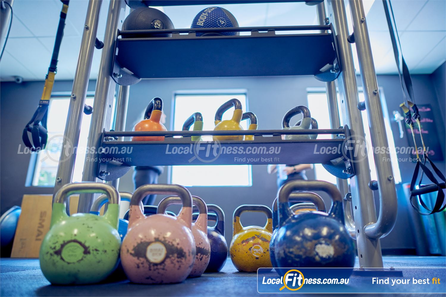 Fernwood Fitness Near Elwood Fully equipped functional area with TRX, Kettlebells, plyo boxes and more.