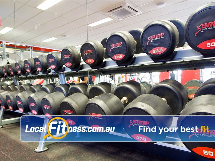 Snap Fitness Near Cloverdale Fully equipped free-weights area with dumbbells up to 50kg.