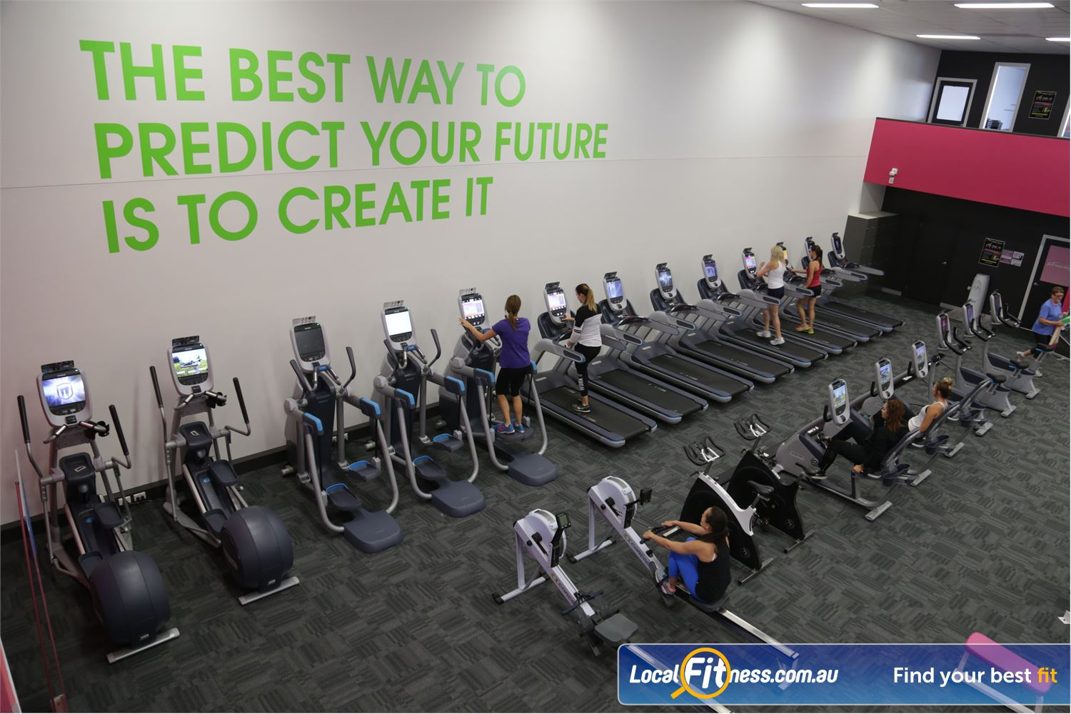 Fernwood Fitness Shepparton Comprehensive cardio selection with treadmills, cross trainers, rowers and more.