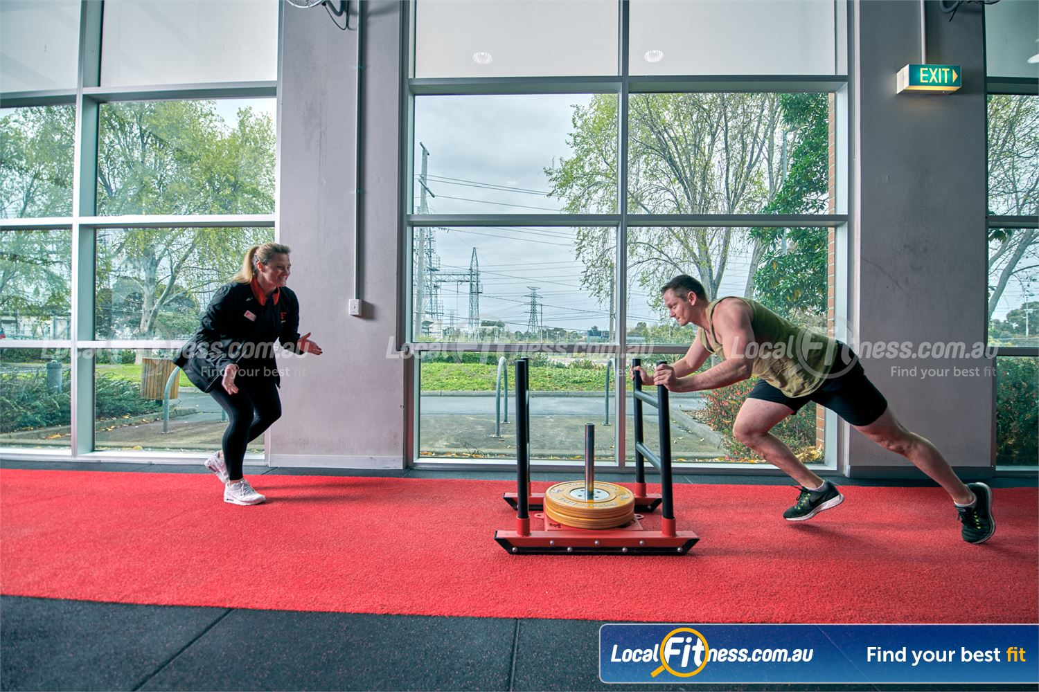 Fitness First Malvern Valley Chadstone Prowler sled training is a great way to condition your body.