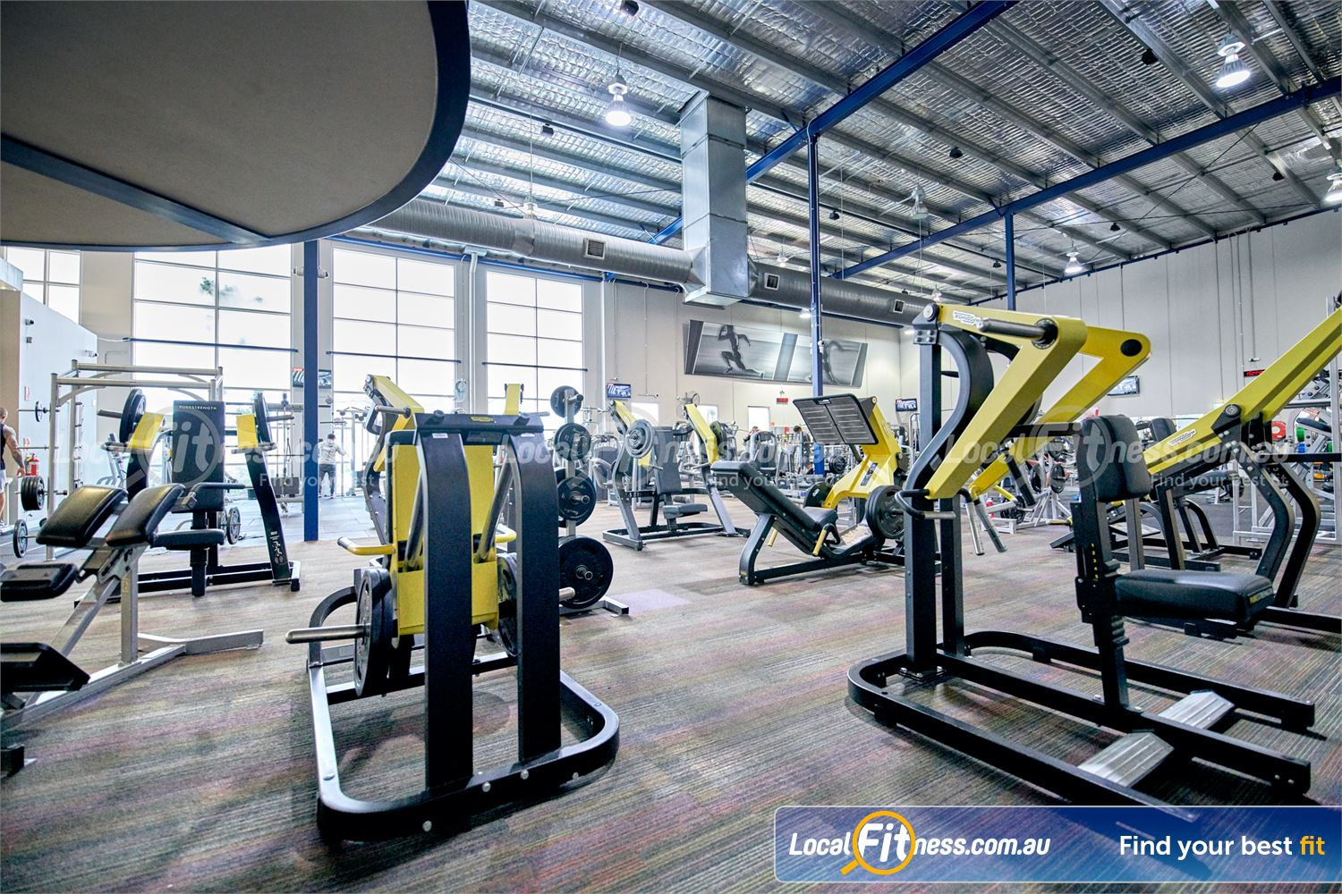 Fitness First Malvern Valley Near Mount Waverley Heavy duty plate-loading machines from Technogym Pure.