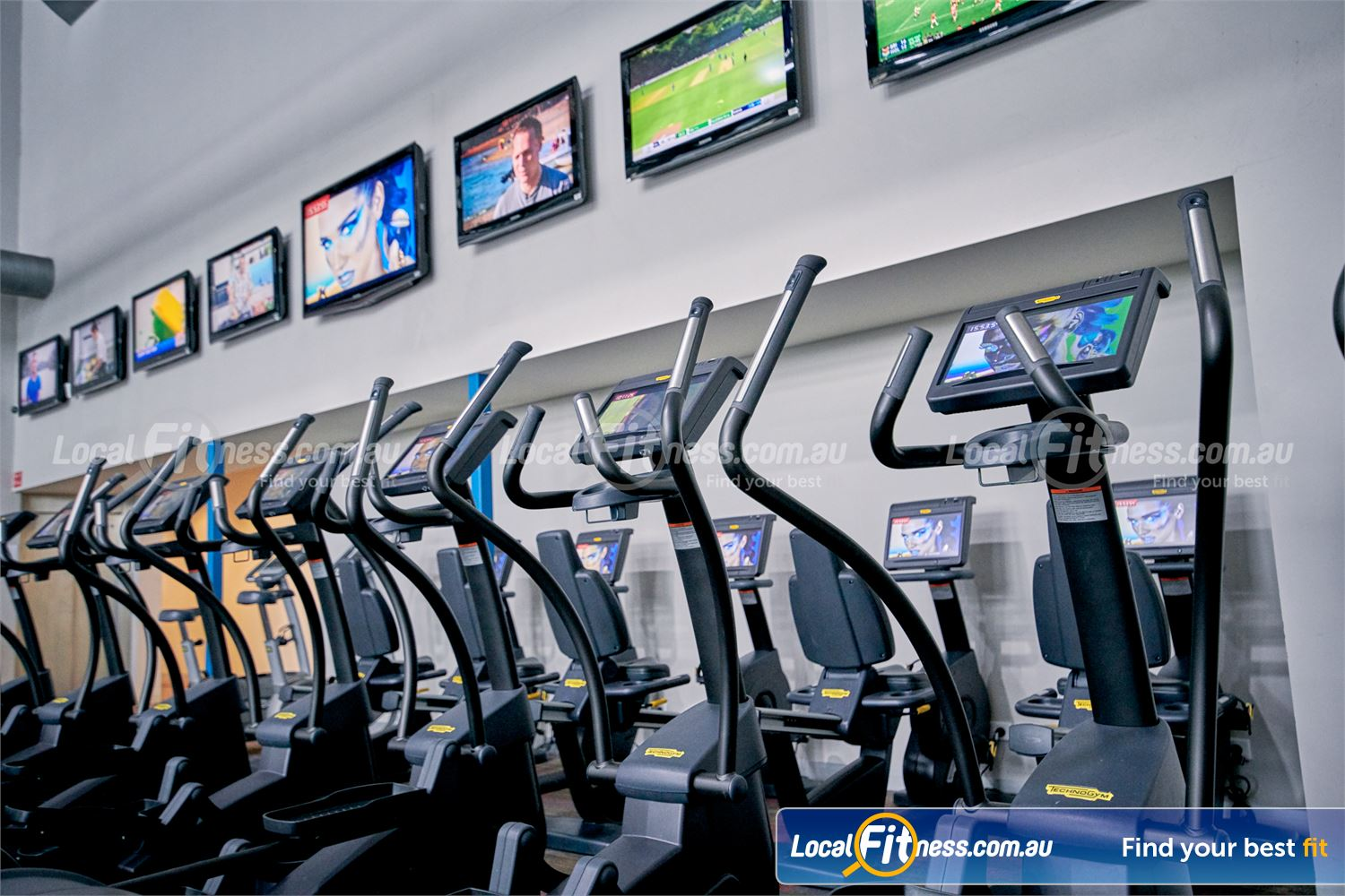 Fitness First Malvern Valley Chadstone The latest Technogym entertainment screens where you can watch your favourite shows.