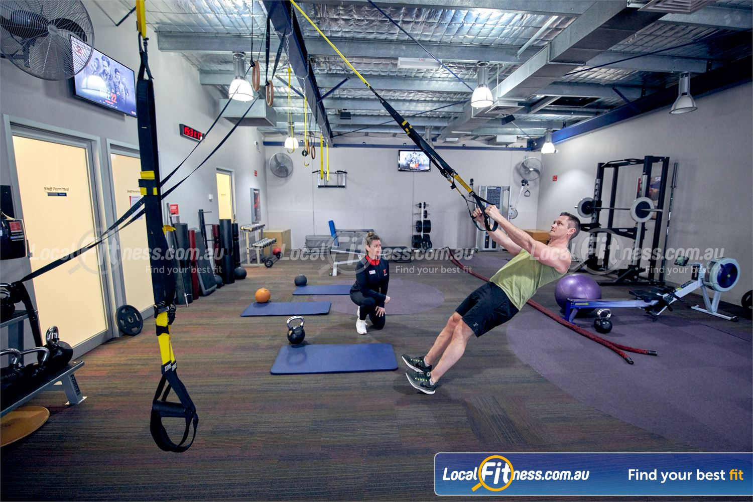 Fitness First Malvern Valley Near Mount Waverley TRX training is a great way to work on your stability and core.