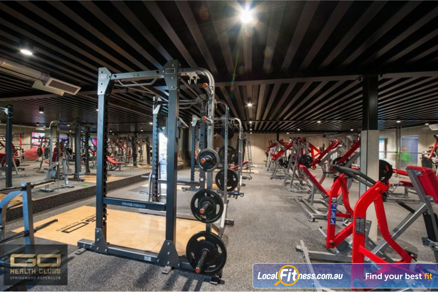 Goodlife Health Clubs Near Chatswood Hills Multiple power rocks and plate loading machine from Hammer Strength.