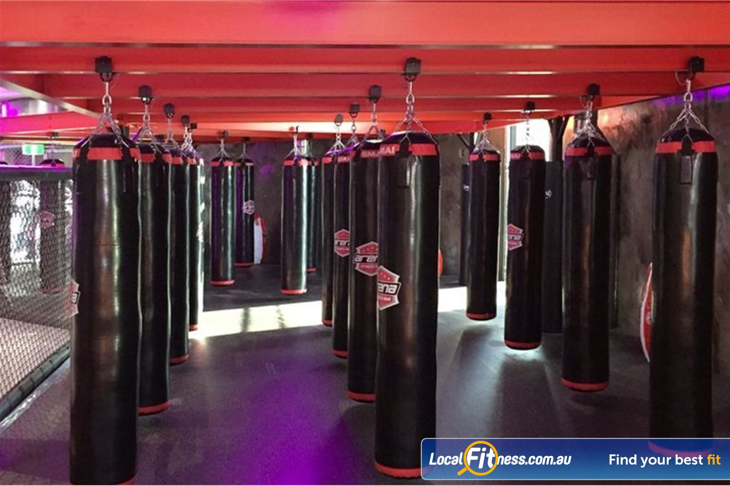 Goodlife Health Clubs Near Meadowbrook Fully equipped Springwood boxing and kickboxing setup.
