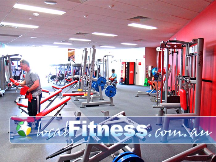 Jetts Fitness Near Kensington A fully equipped Flemington gym free-weights area from the Calgym Synergy strength line.