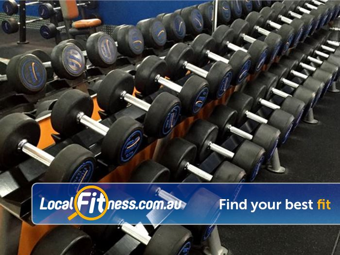 Plus Fitness 247 Sutherland Fully equipped with dumbbells and barbells for all ages and abilities.