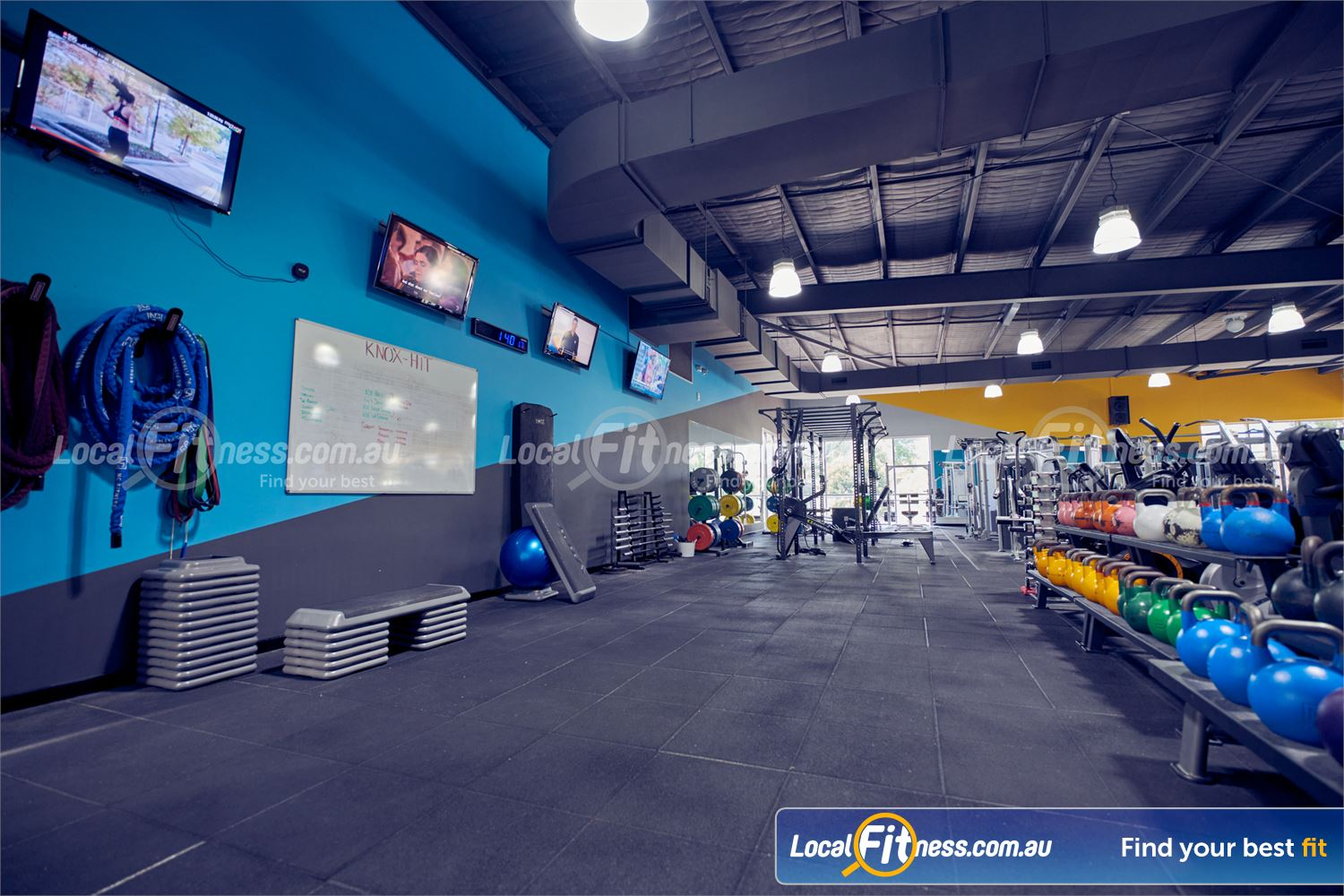 Knox Leisureworks Boronia Fully equipped functional training and Knox HIIT gym space.