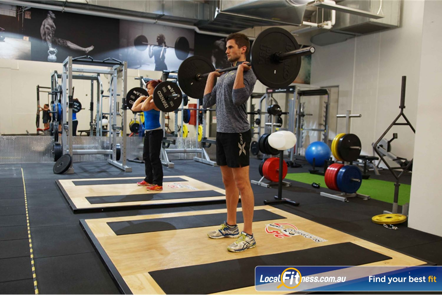 Goodlife Health Clubs South Melbourne Multiple lifting platforms in our South Melbourne HIIT gym.