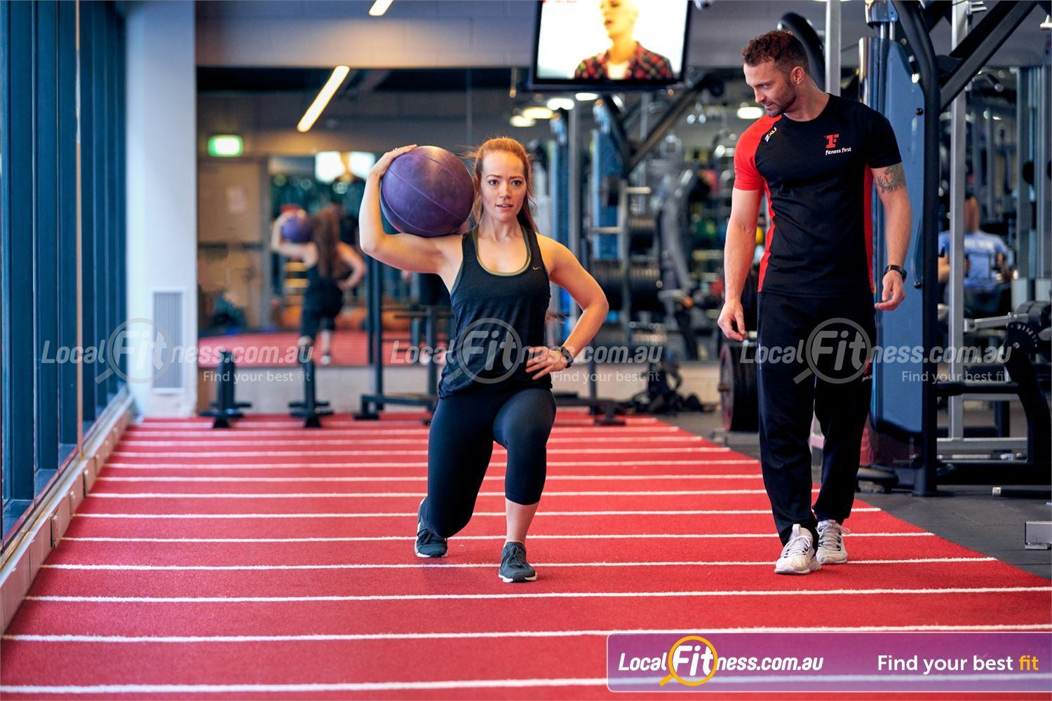 Fitness First Victoria Gardens Near Richmond North Use our indoor track to do walking lunges to build your legs.
