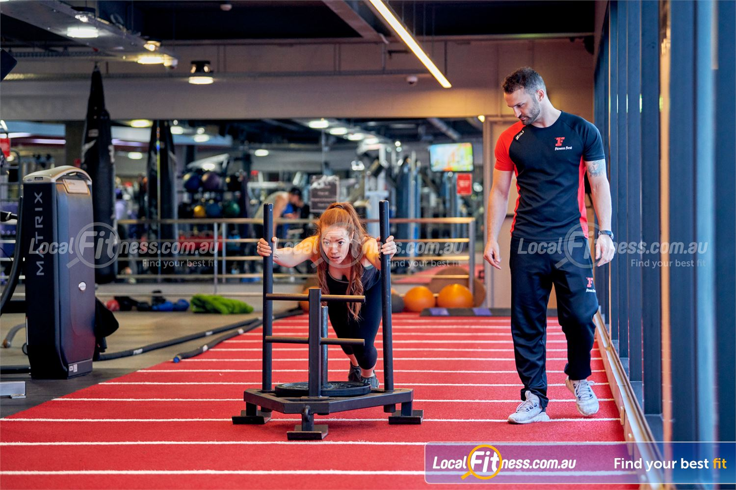 Fitness First Victoria Gardens Richmond Sled training in Richmond is a great way to condition your body.