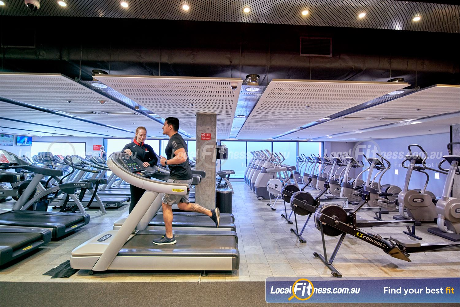 Fitness First Victoria Gardens Near Richmond North Rows of state of the art treadmills, cross-trainers and rowers.