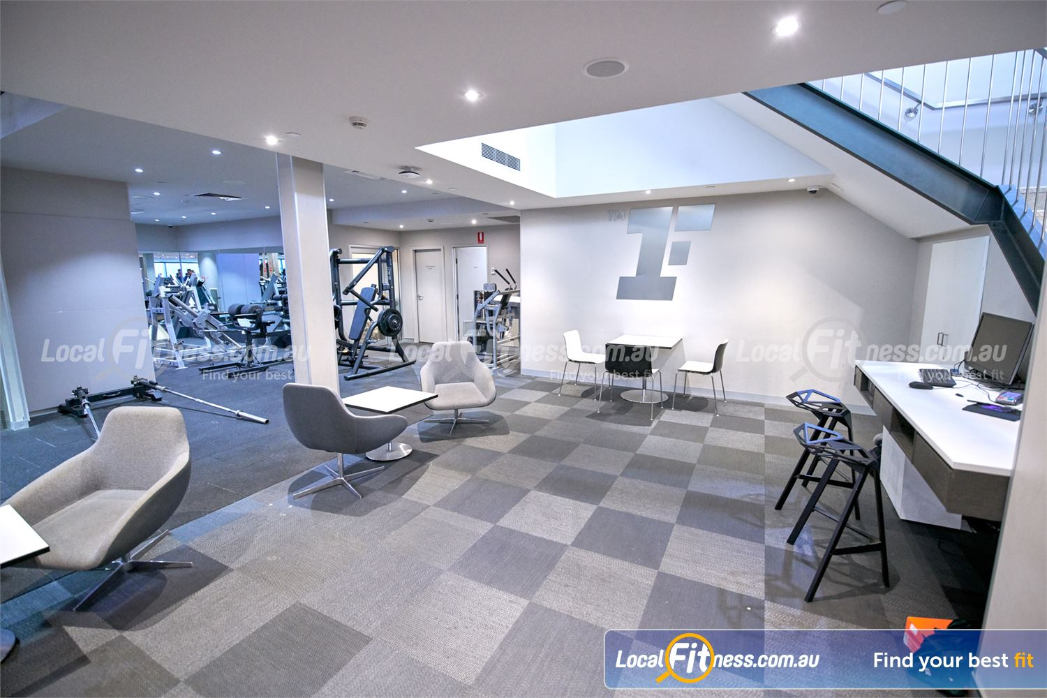 Fitness First Victoria Gardens Near South Yarra The comfortable members lounge area at Fitness First Victoria Gardens.
