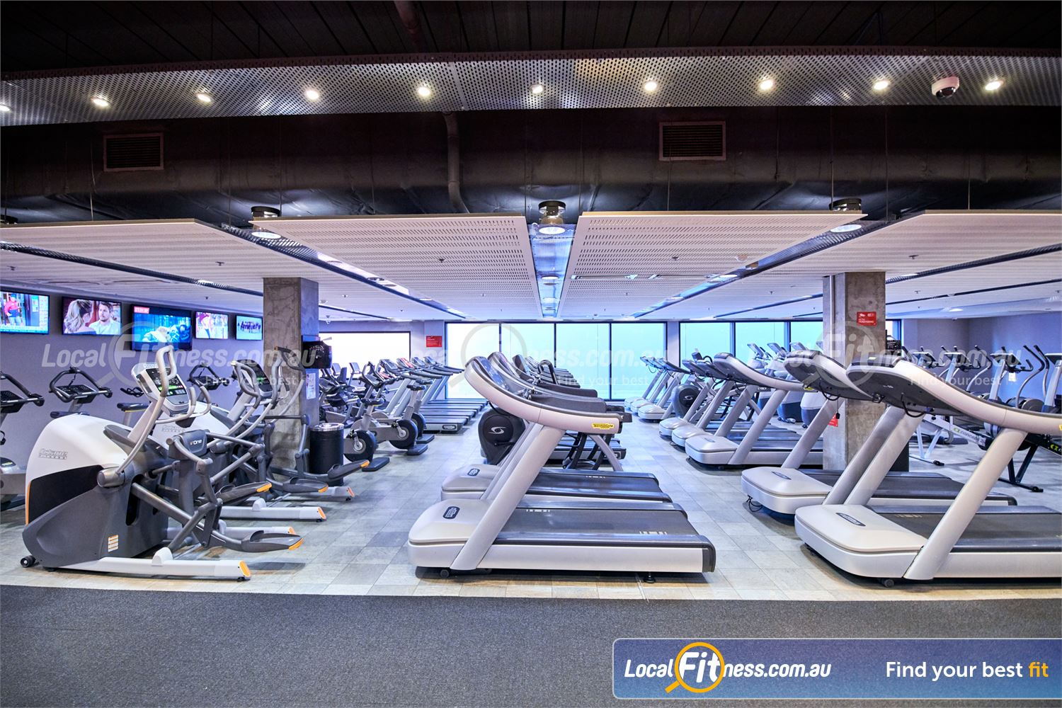 Fitness First Victoria Gardens Richmond Multiple rows of cardio equipment in our Richmond gym.
