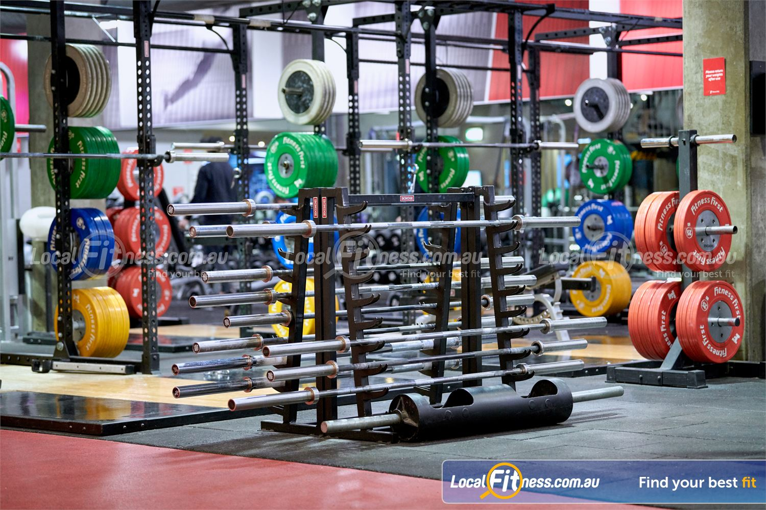 Fitness First Victoria Gardens Near Richmond North Full range of specialty bars including the strongman log bar.