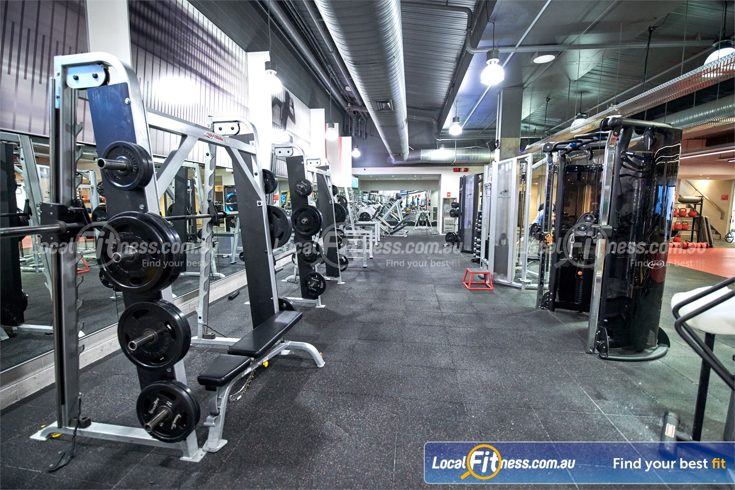 Fitness First Victoria Gardens Richmond Our free-weights area includes multiple smith machines and squat racks.