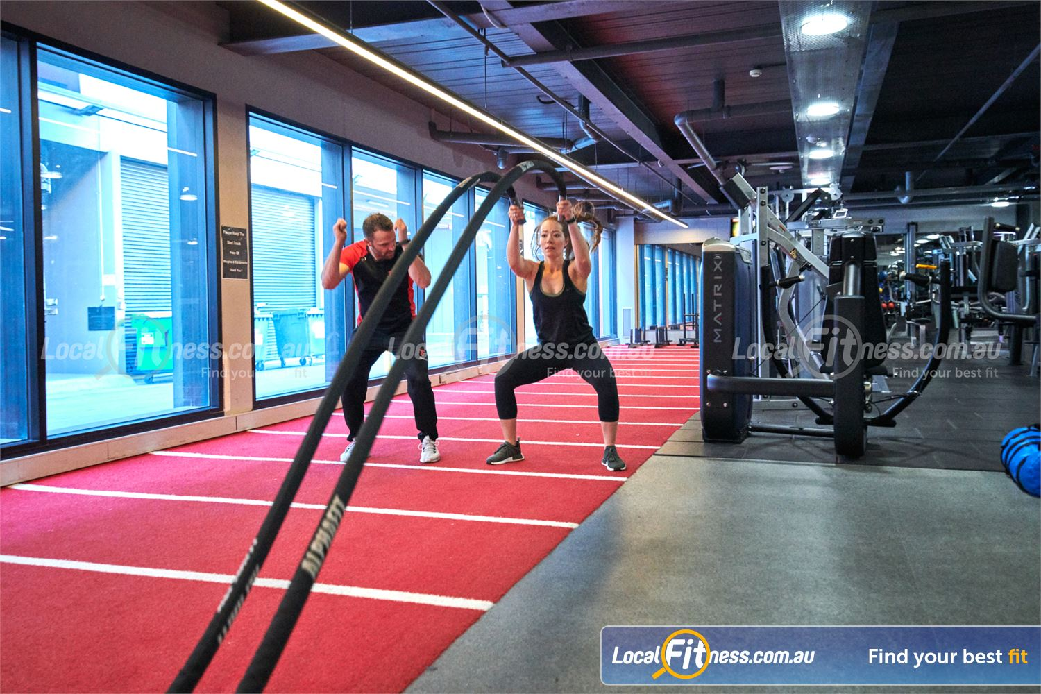 Fitness First Victoria Gardens Richmond Our Richmond personal trainers can challenge your fitness with battleropes.