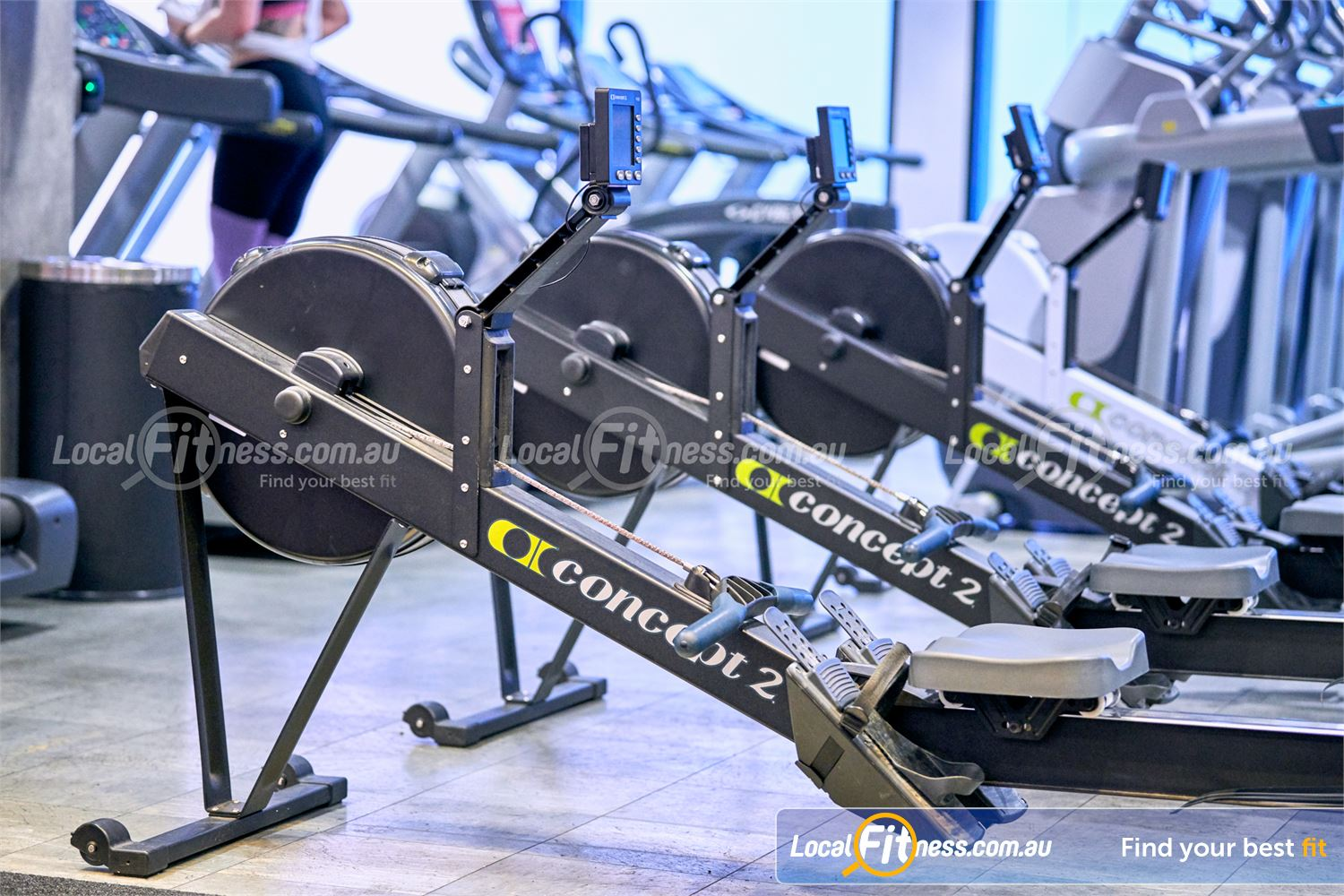 Fitness First Victoria Gardens Near South Yarra Rows of cardio machines including the Concept 2 rower.