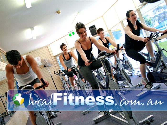 St Albans Leisure Centre Keilor Downs A dedicated cycle studio over looking the outdoor pool.