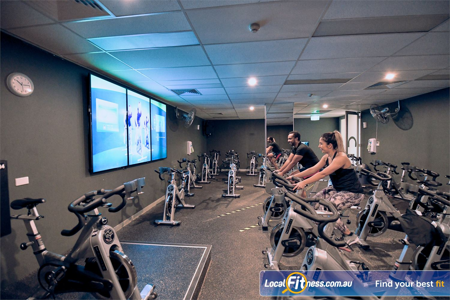 Goodlife Health Clubs Near Brooklyn Our dedicated Port Melbourne spin cycle room with virtual class screen.