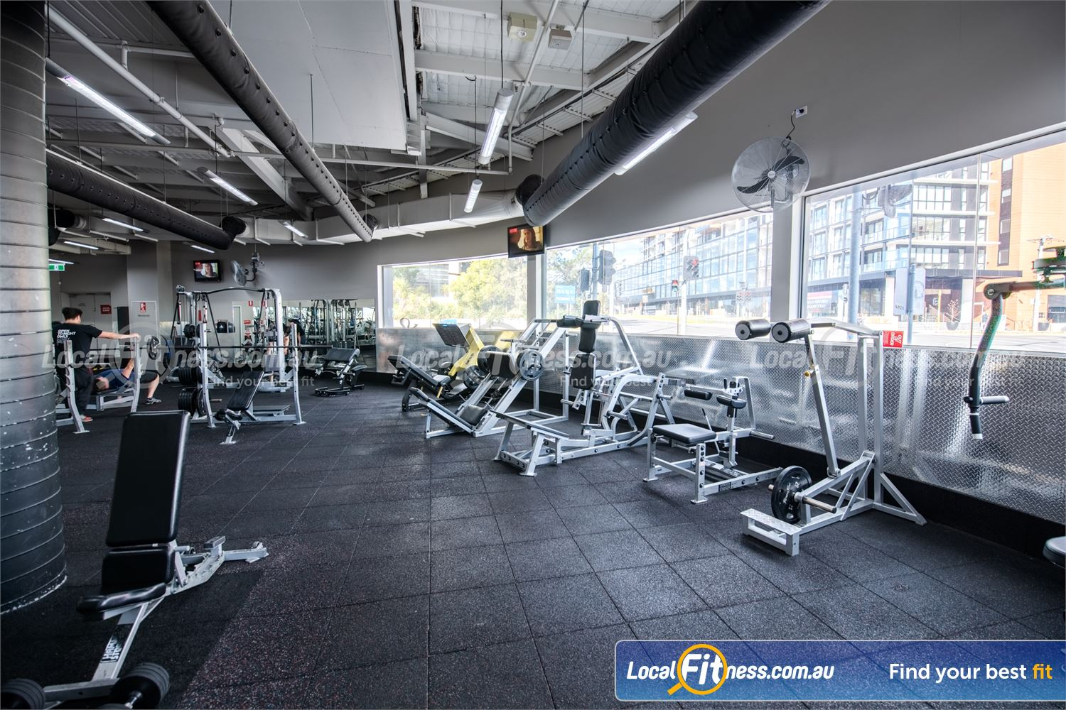 Fitness First Near Blackburn North The massive free-weights area located on the lower level.