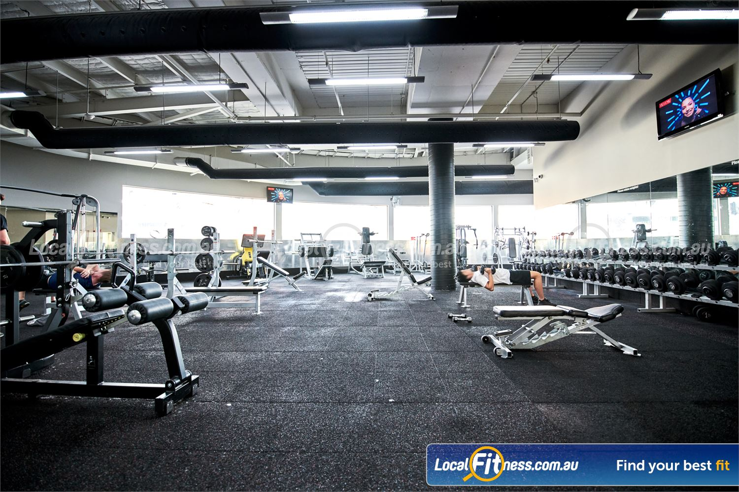 Fitness First Doncaster Fully equipped free-weights area inc. dumbbells, barbells, benches and more.