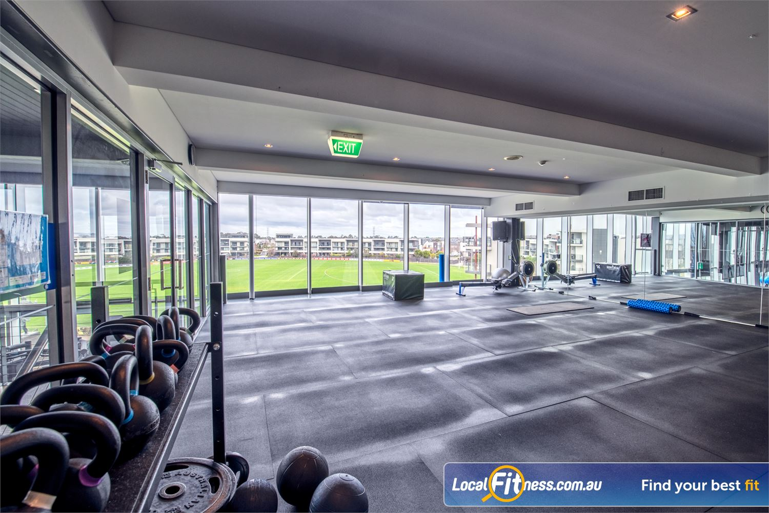 Goodlife Health Clubs Waverley Park Near Springvale Our spacious Mulgrave group fitness studio with stunning views of Waverley Park.
