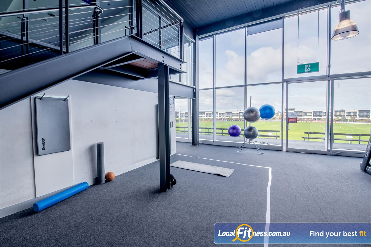 Goodlife Health Clubs Waverley Park Mulgrave Fully equipped stretch area with stunning views of Waverley Park.