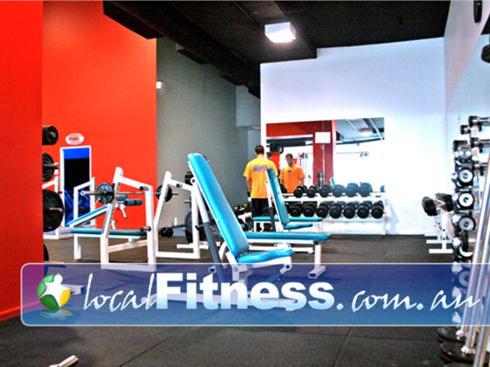 Re-Creation Health Clubs Near Bentleigh The Brighton East free-weights area has plenty of space.