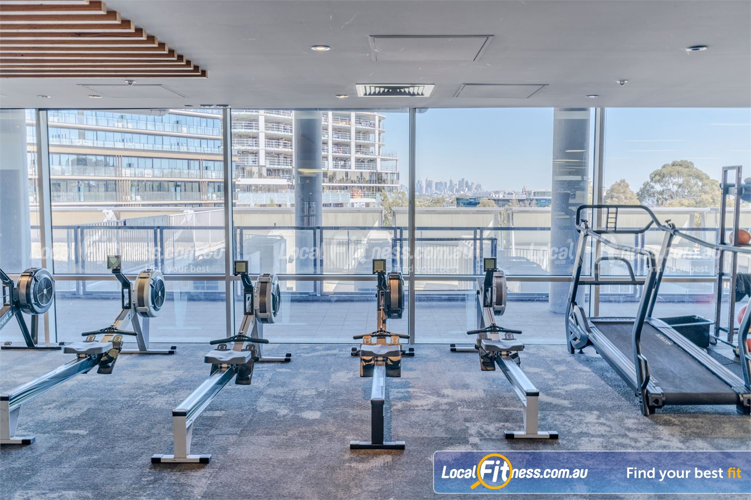 Goodlife Health Clubs Camberwell Welcome to the Camberwell gym with scenic skyline views of Melbourne.