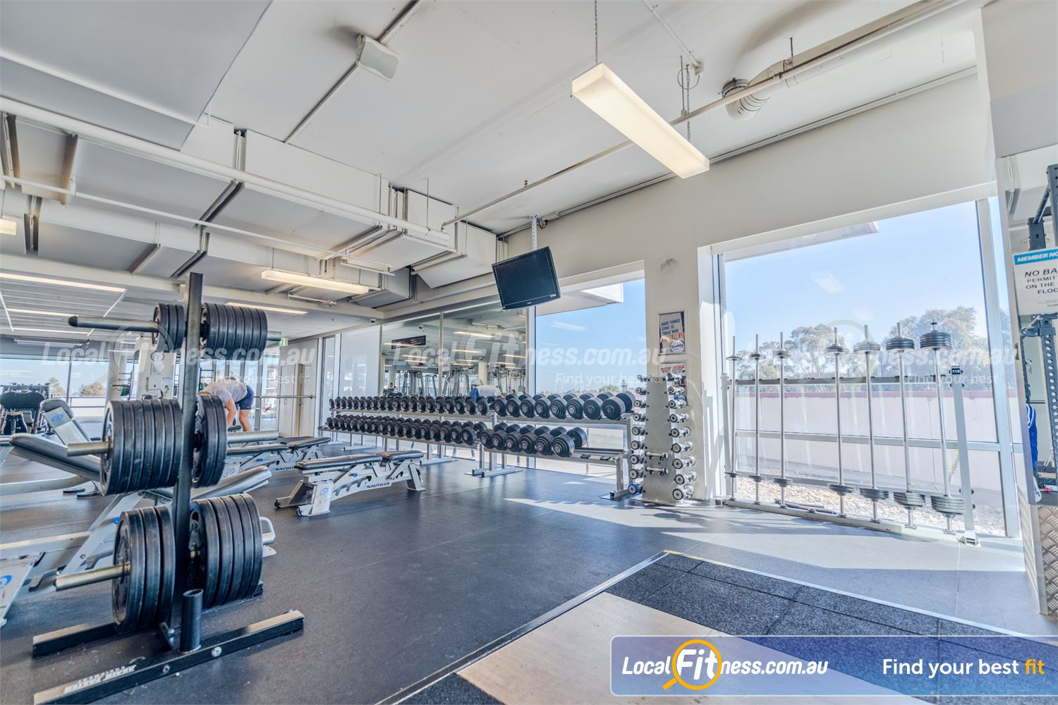 Goodlife Health Clubs Camberwell Fully range of free-weights includes dumbbells, barbells and more.