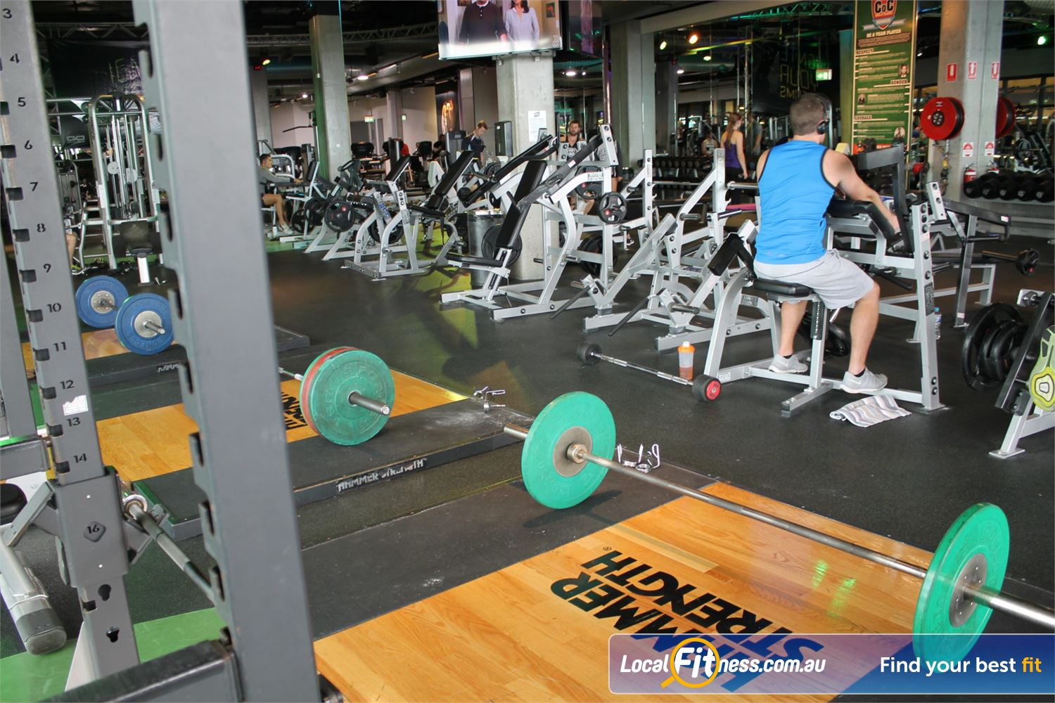 Goodlife Health Clubs Carindale Multiple power rocks and plate loading machine from Hammer Strength.