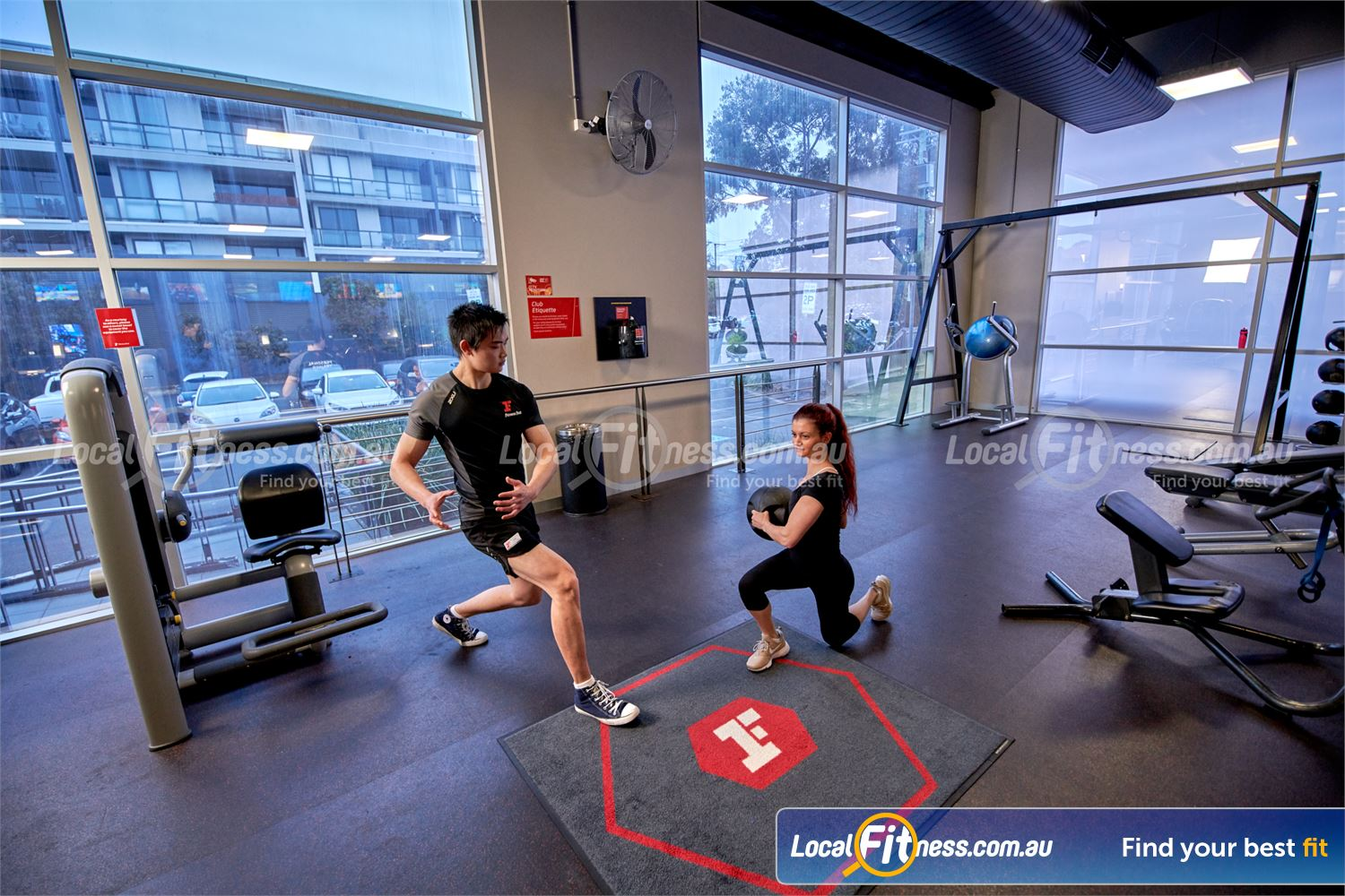 Fitness First Near Burwood East Fully equipped ab and stretching area.