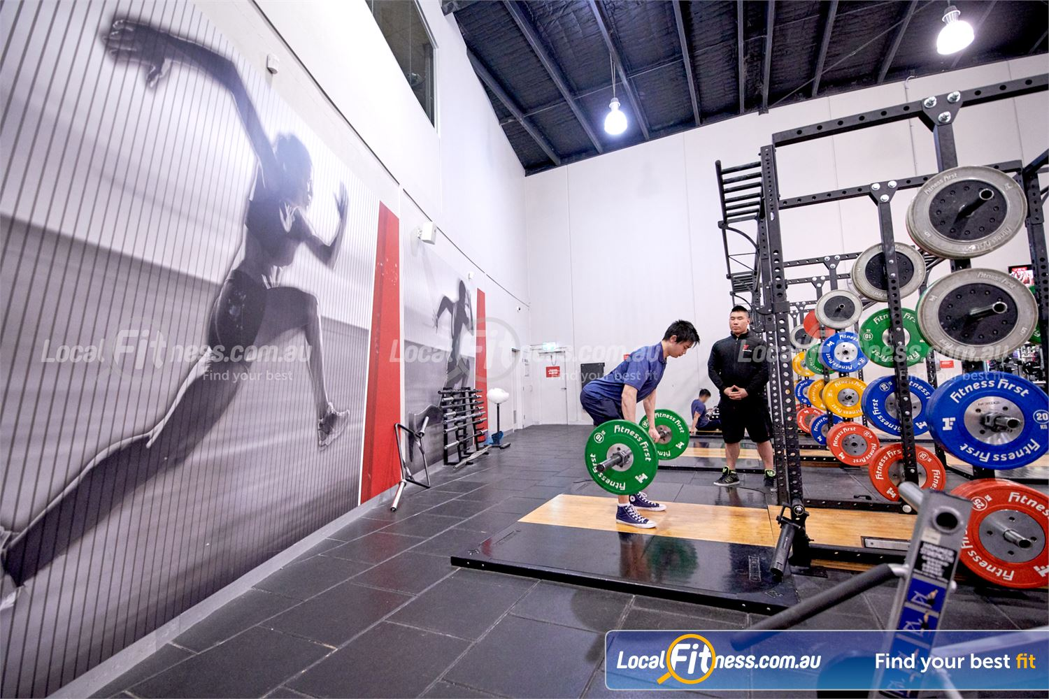 Fitness First Near Notting Hill High-performance strength cages and Olympic lifting platforms.