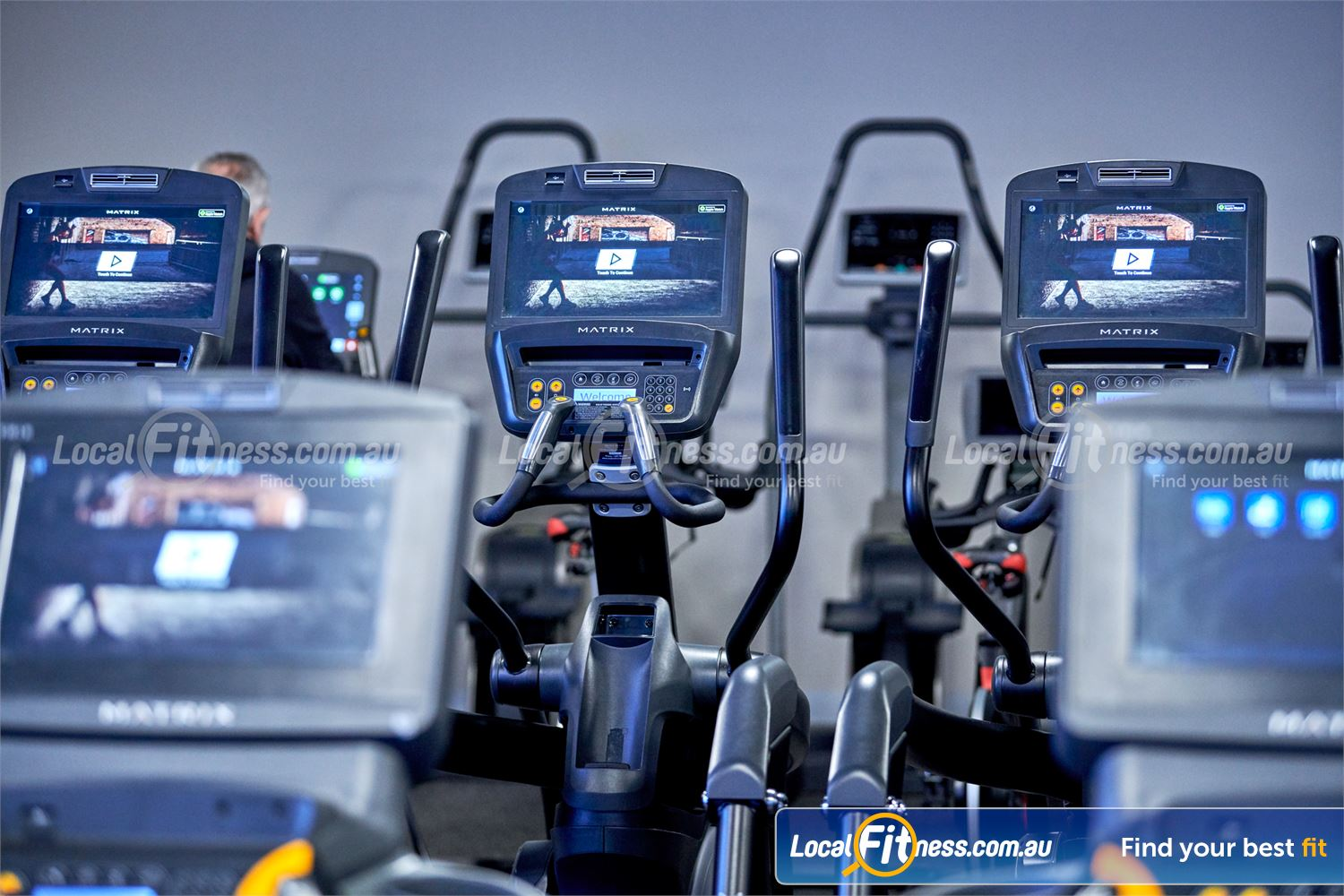 Fitness First Glen Waverley The latest MATRIX console where you can go on facebook, twitter, youtube and more.