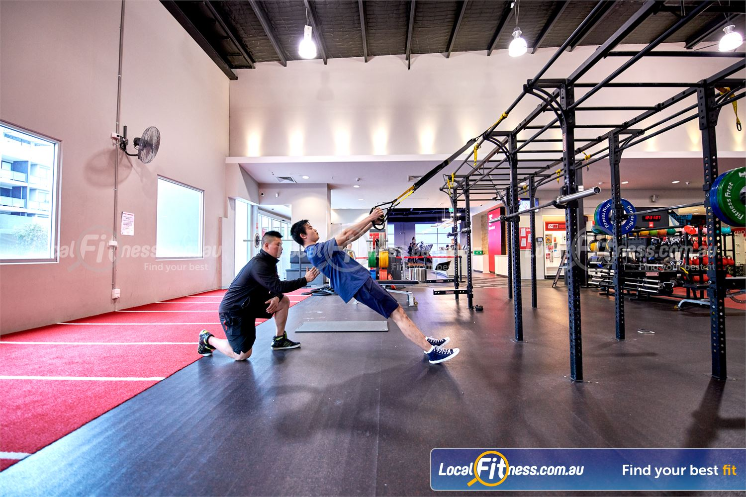 Fitness First Near Notting Hill Our Glen Waverley personal training team can take you through a TRX workout.