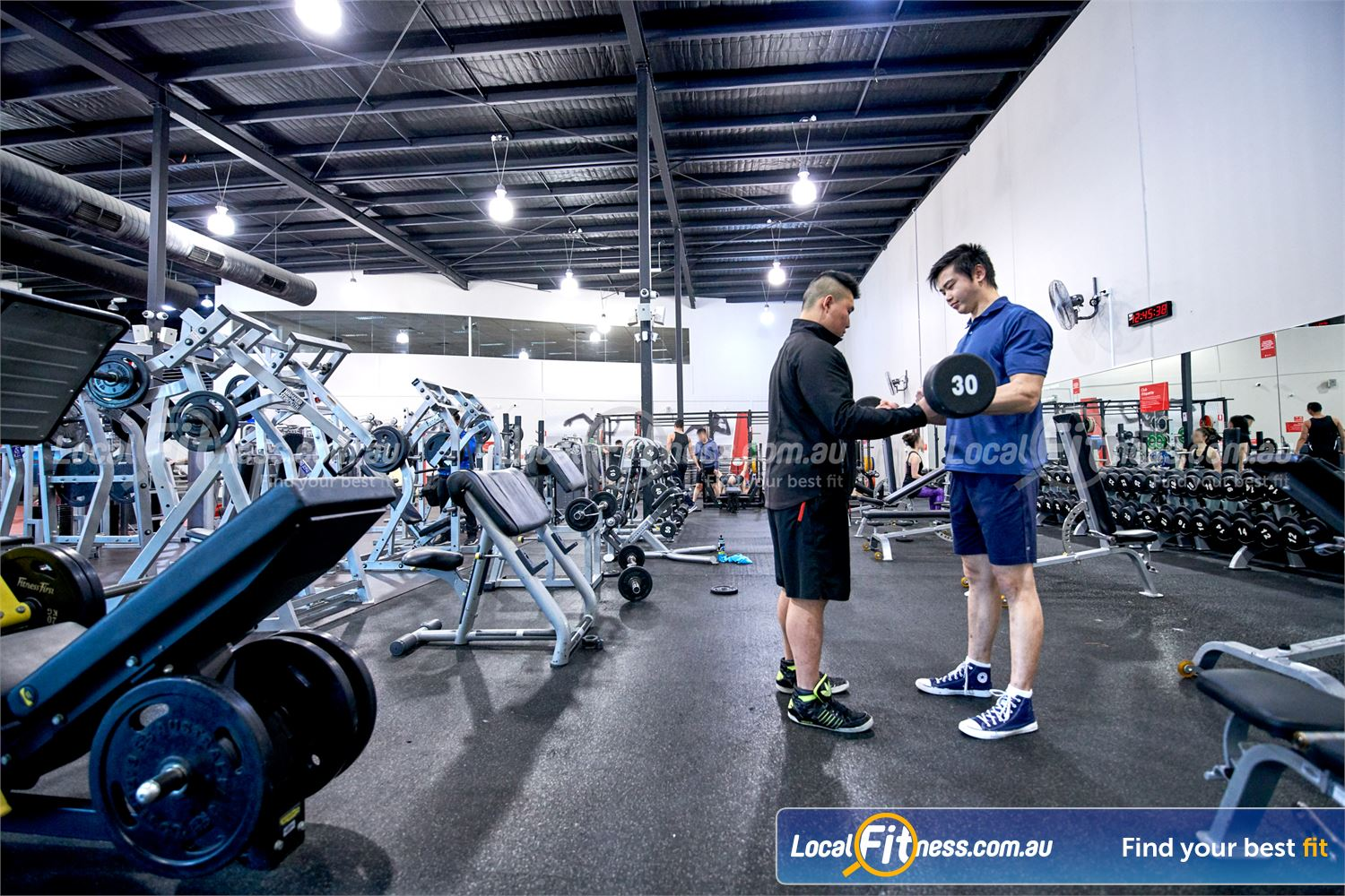 Fitness First Near Burwood East Our free-weights area is fully equipped with dumbbells, barbells and more.
