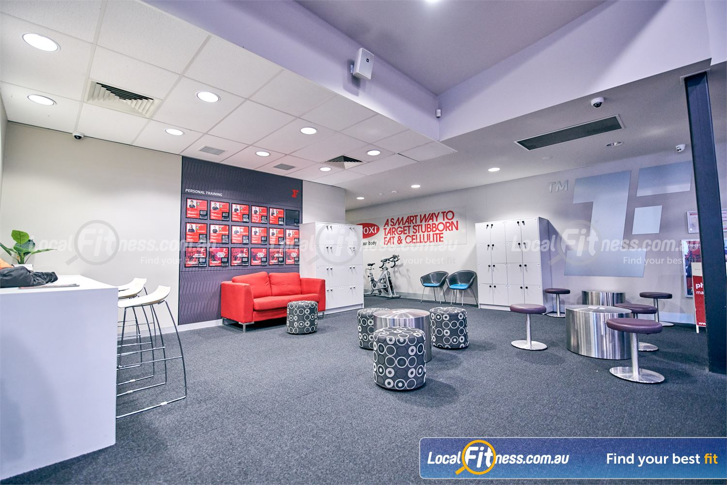Fitness First Near Burwood East The comfortable members lounge area at Fitness First Glen Waverley.