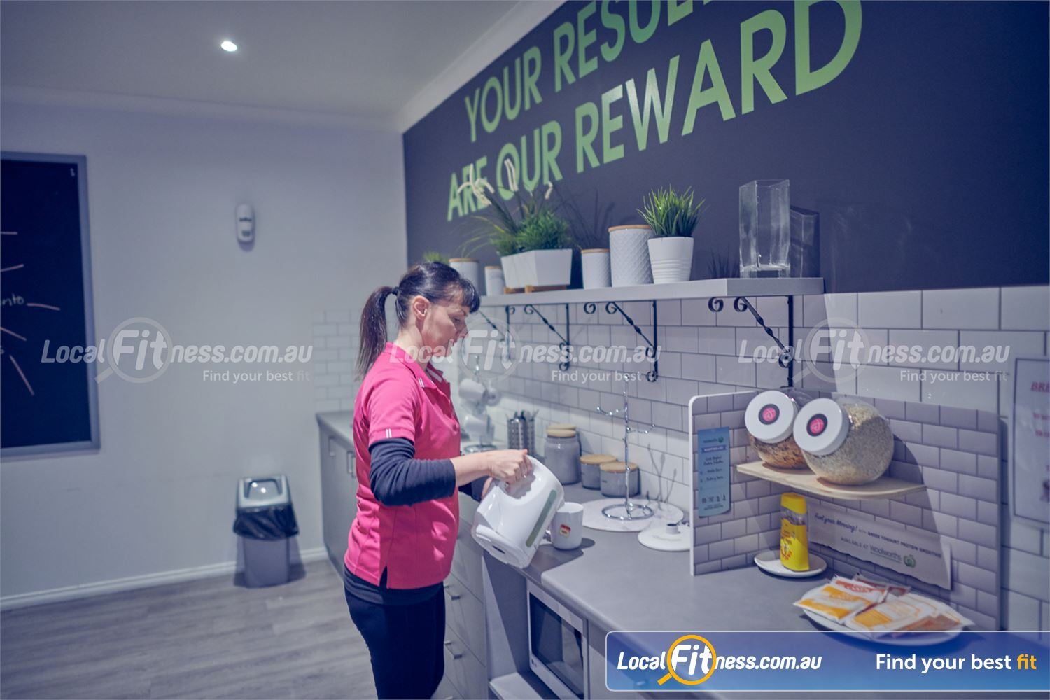 Fernwood Fitness Bulleen Complimentary coffee, tea, breakfast and more.