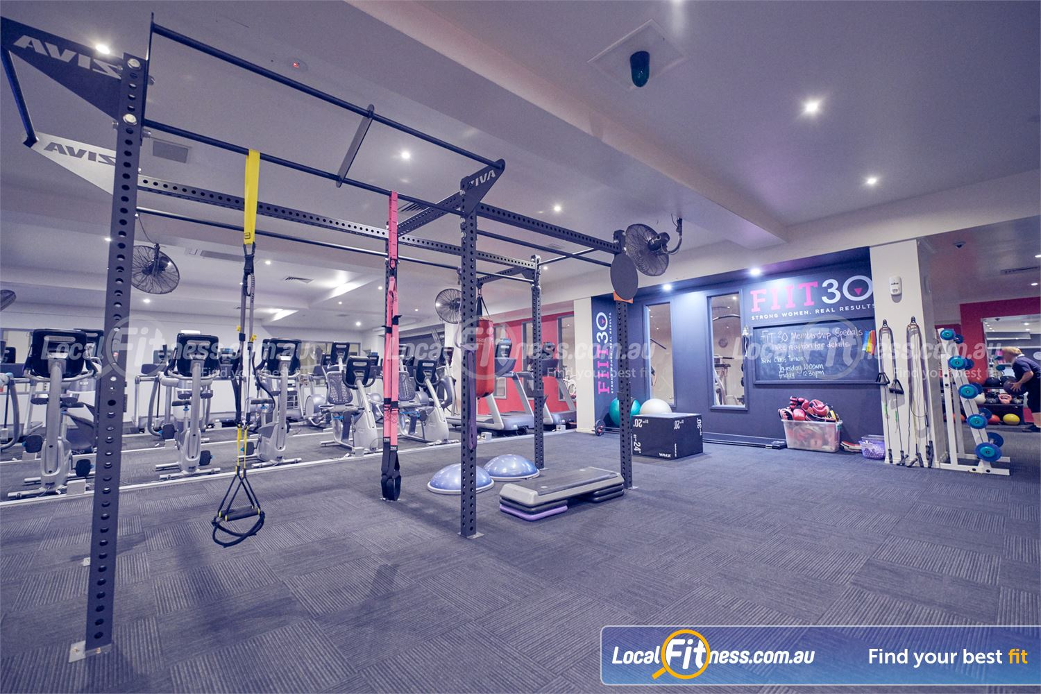 Fernwood Fitness Bulleen The functional training area is fully equipped for strength training.